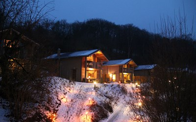 Winter Heimatlodges Nacht
